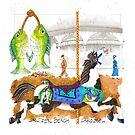 Jantzen Beach Carousel Fish Horse by dkatiepowellart