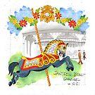 Jantzen Beach Carousel Roman Horse by dkatiepowellart