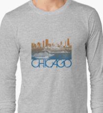 Chicago Skyline T-shirt Design Long Sleeve T-Shirt
