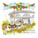 Jantzen Beach Carousel Floral Horse by dkatiepowellart
