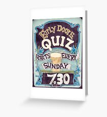 Close up on colorful British pub quiz sign Greeting Card