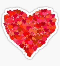 Red Valentine Love Hearts Sticker