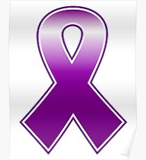 Purple vector ribbon isolated on white : breast cancer sign Poster