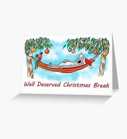 Koala Relaxing on its Hammock on a Well Deserved Christmas Break Greeting Card