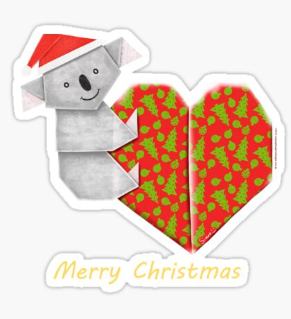 Koala Origami and its Heart gift wrapped for Christmas  Sticker
