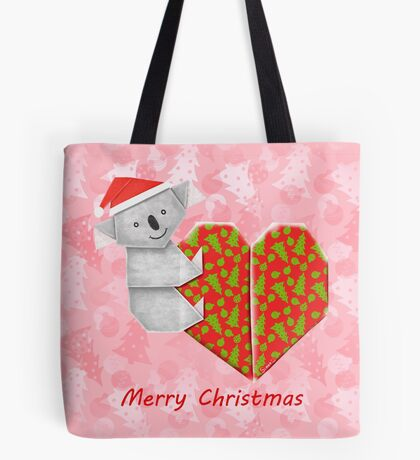 Koala Origami and its Heart gift wrapped for Christmas  Tote Bag