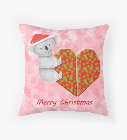 Koala Origami and its Heart gift wrapped for Christmas  Throw Pillow