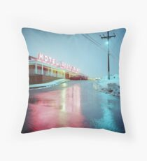 Rainy Motel Lights  Throw Pillow
