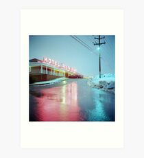 Rainy Motel Lights  Art Print