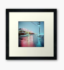 Rainy Motel Lights  Framed Print