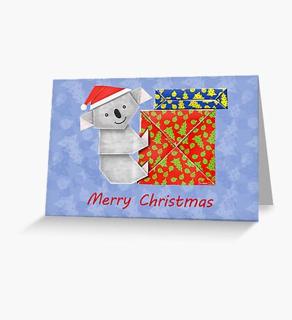 Koala Origami and its mystery Christmas Gift boxes Greeting Card