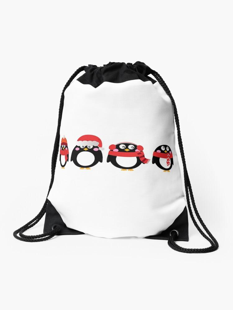 Mochila De Cuerdas Conjunto De Dibujos Animados De Pingüinos De