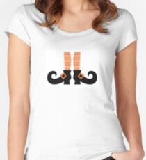 Orange striped witch legs. Vector cartoon Illustration Women's Fitted Scoop T-Shirt
