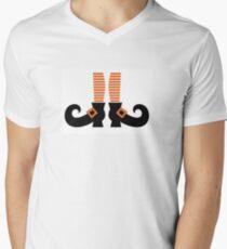 Orange striped witch legs. Vector cartoon Illustration Men's V-Neck T-Shirt