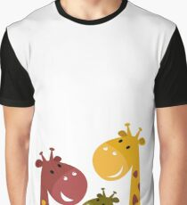 Happy cartoon Giraffes. Vector Illustration Graphic T-Shirt