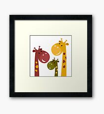 Happy cartoon Giraffes. Vector Illustration Framed Print