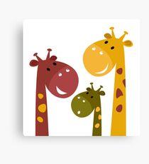 Happy cartoon Giraffes. Vector Illustration Canvas Print