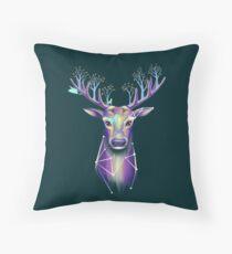 Forest Stag with Tree Antlers Throw Pillow