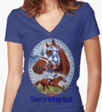 Secretariat Triple Crown Winner Women's Fitted V-Neck T-Shirt
