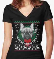 Merry Christmas French Bulldog Women's Fitted V-Neck T-Shirt