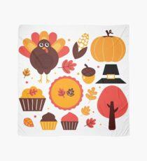 Thanksgiving items set. Vector Illustration Scarf