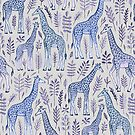 Blue Giraffe Pattern by micklyn