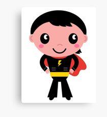 Cute young Super hero boy. Vector Illustration Canvas Print