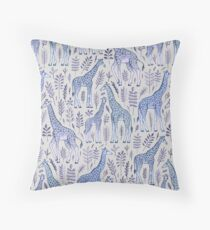 Blue Giraffe Pattern Throw Pillow