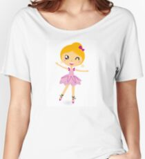 Blond ballet girl in pink costume isolated on white Women's Relaxed Fit T-Shirt