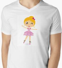 Blond ballet girl in pink costume isolated on white T-Shirt