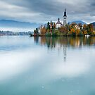 Autumn colours at Lake Bled by Ian Middleton