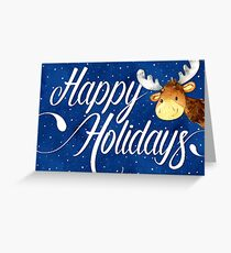Swirly Happy Holidays Text and Cute Reindeer Christmas Card Greeting Card