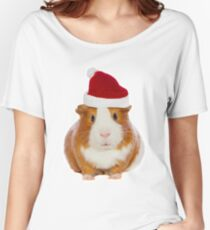 Christmas Guinea pig in Santa's hat Women's Relaxed Fit T-Shirt
