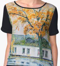 watercolor city autumn landscape Women's Chiffon Top