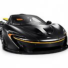 Black McLaren P1 plug-in hybrid supercar sports car isolated art photo print by ArtNudePhotos
