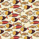 Dekorative Hand gezeichnetes Muster mit lustigen Fischen von Viktoriia