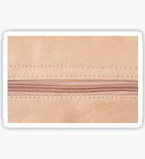 Beige zipper on leather cloth texture Sticker