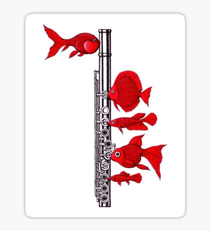 Fish and Flute Sticker