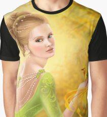 Beautiful romantic woman and fantasy gold bird Graphic T-Shirt