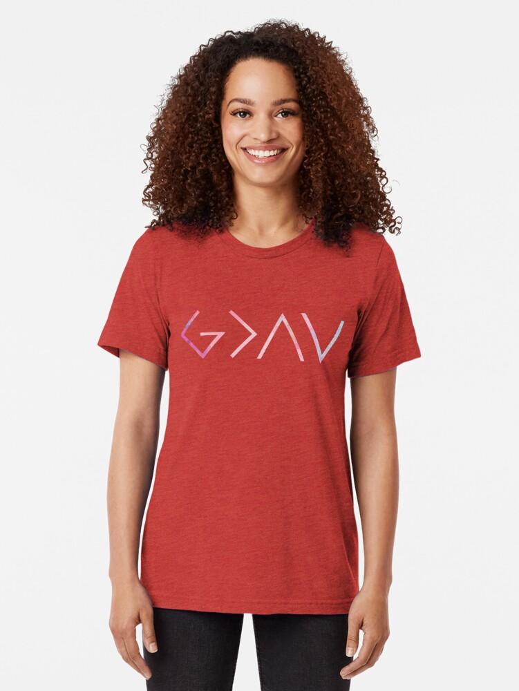 Vista alternativa de Camiseta de tejido mixto Dios es más grande que los altibajos