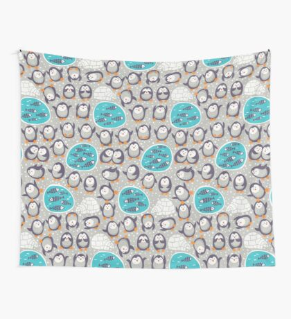 Winter penguins Wall Tapestry