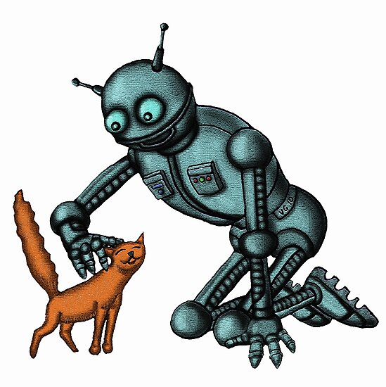 Funny Robot with Cat cartoon drawing art by Vitaliy Gonikman