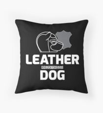 Nerdy Doggo Leather Dog Throw Pillow