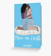 Heaven Is a Place on Earth - San Junipero - Kelly and Yorkie (White) Greeting Card
