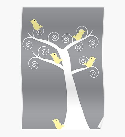 5 Yellow Birds in a Tree (Gray Background) Poster