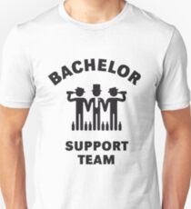 Bachelor Support Team (Stag Party / Black) Slim Fit T-Shirt