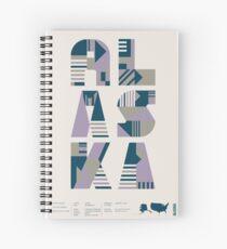 Typographic Alaska State Poster Spiral Notebook