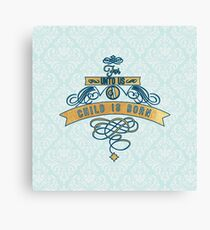 For unto us a child is born,Christmas,Merry Christmas,typography,cool text, vintage,shabby chic, mint,white,damask,damasks,floral,wavy,pattern,modern,trendy Canvas Print