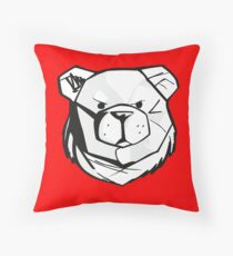 Robust bear logo black and red Throw Pillow