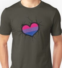 Bisexual Heart and Cracked Wall Unisex T-Shirt